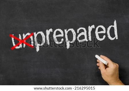 Blackboard with the text unprepared - stock photo