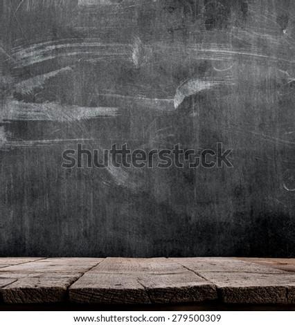 blackboard with wooden floor - stock photo