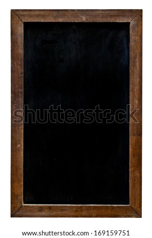 Blackboard with wooden frame on isolated white background - stock photo