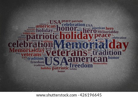 Blackboard with word cloud about Memorial day. - stock photo