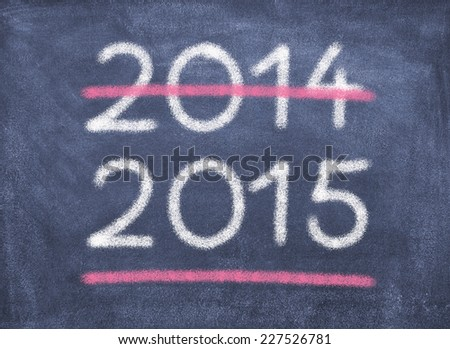 Blackboard with year figures 2014 and 2015/New Year/2015 - stock photo