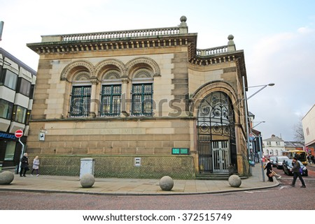 BLACKBURN, UK - FEBRUARY 3 2016: Bank. Blackburn is a large town in Lancashire, England which lies to the north of the West Pennine Moors on the southern edge of the Ribble Valley, - stock photo