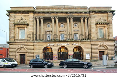 BLACKBURN, UK - FEBRUARY 3 2016: Entertainment Hall. Blackburn is a large town in Lancashire, England which lies to the north of the West Pennine Moors on the southern edge of the Ribble Valley, - stock photo