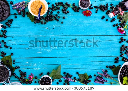 Blackcurrant - fresh blackcurrant fruit and a variety of sweet dishes, frame - stock photo