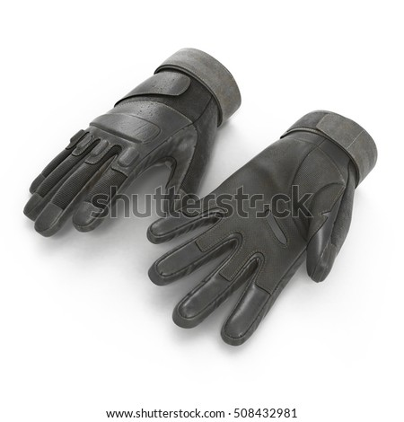 Blackhawk military tactical gloves leather. US Soldier gloves on white. 3D illustration