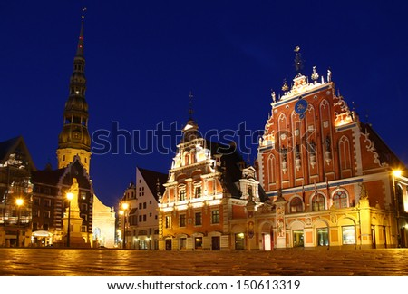 Blackheads House and St. Peter's Lutheran Church on the Town Hall square, Riga, Latvia - stock photo