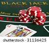 Blackjack pays 3 to 2 - stock photo