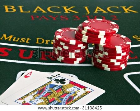 Blackjack pays 3 to 2 - stock photo