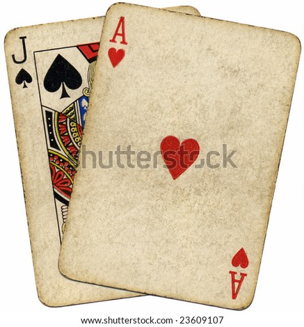 Blackjack vintage dirty cards isolated over white. - stock photo