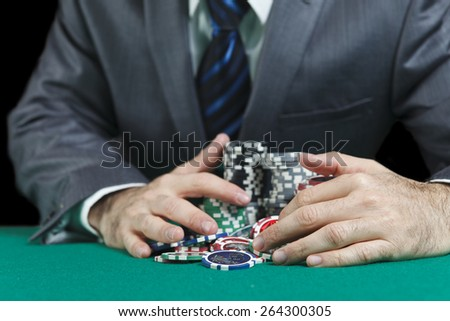 Blackjack Winner,A Solid Businessman, Won In Blackjack Game And Take All The Chips