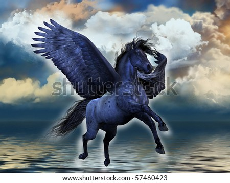 BLACKMORE - A black roan Pegasus stallion glows with magical powers.