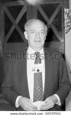 BLACKPOOL, ENGLAND - OCTOBER 10: John Biffen, Conservative party Member of Parliament for Shropshire North, visits the party conference on October 10, 1989 in Blackpool, Lancashire.