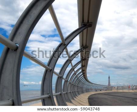 Blackpool new promenade railings with tower - stock photo