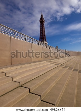 Blackpool new promenade steps with tower - stock photo