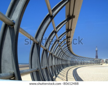 Blackpool new promenade  with tower - stock photo