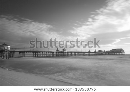 Blackpool North Pier, Black & White, Lancashire, England, UK - stock photo