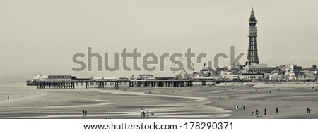 Blackpool Seafront - Black and White  - stock photo