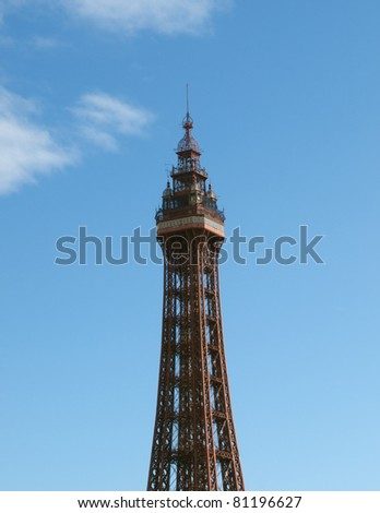 Blackpool tower against a blue sky - stock photo