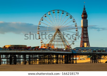 Blackpool Tower and Central Pier Ferris Wheel, Lancashire, UK - stock photo