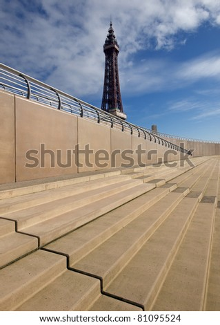 Blackpool tower and new sea wall steps
