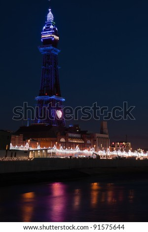 Blackpool Tower at night - stock photo