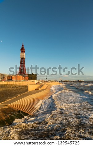 Blackpool Tower from the North Pier, Lancashire, England, UK - stock photo