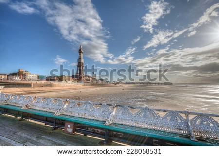 Blackpool Tower taken from the North Pier. - stock photo
