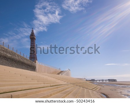 Blackpool tower with new promenade steps - stock photo