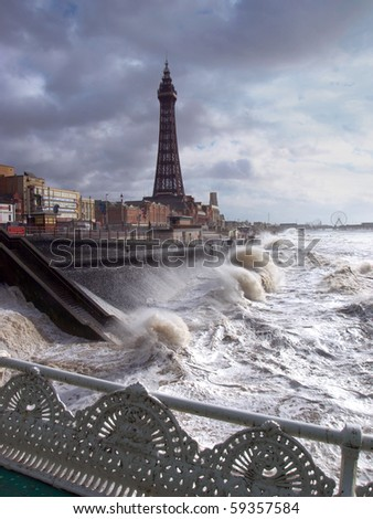Blackpool  tower with stormy sea - stock photo