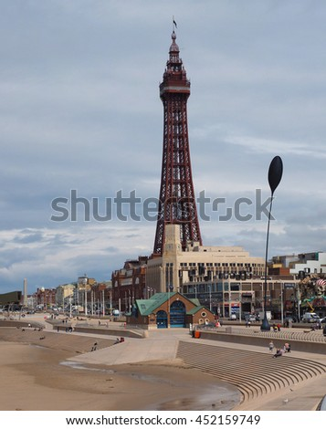 BLACKPOOL, UK - CIRCA JUNE 2016: Blackpool Pleasure Beach resort and Blackpool Tower on the Fylde coast in Lancashire
