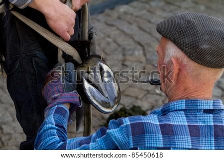Blacksmith at work while changing a horseshoe - stock photo