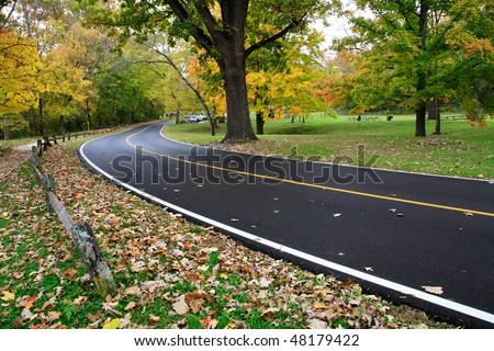 Blacktop Road Through The Park In Autumn, Sharon Woods, Southwestern Ohio - stock photo