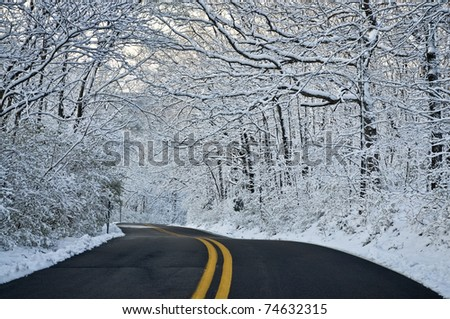 Blacktop Road Through Wet Snowy Forest - stock photo