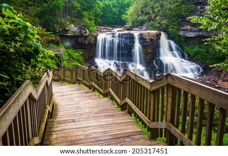 Blackwater Falls and a trail at Blackwater Falls State Park, West Virginia. - stock photo