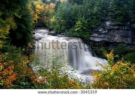 Blackwater Falls West Virginia in Autumn Horizontal - stock photo