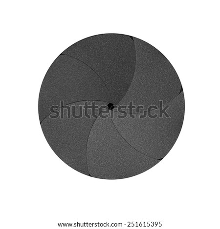 Blade of the camera shutter on white background - stock photo