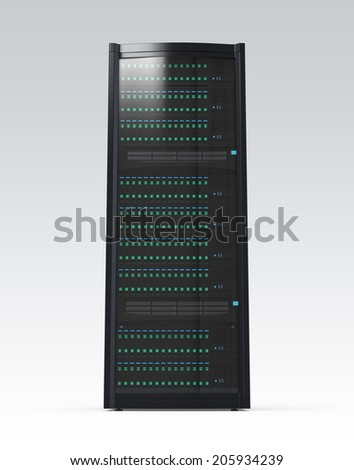 Blade server rack isolated on gray background. Clipping path available. - stock photo