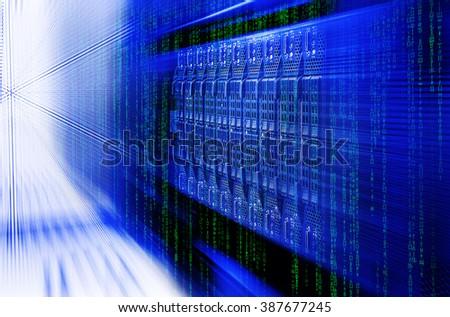 blade server server equipment rack data center closeup and blur blue toning - stock photo