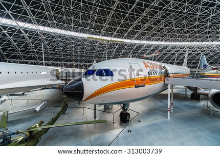 BLAGNAC, FRANCE - JUNE 02 2015: Aeroscopia, home of a rich local aviation heritage in Blagnac, near Toulouse in Midi Pyrenees,  southern France - stock photo