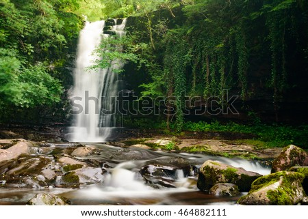 Blain y Glyn waterfalls in Brecon Beacons, Wales - one of many waterfalls in motion, long exposure