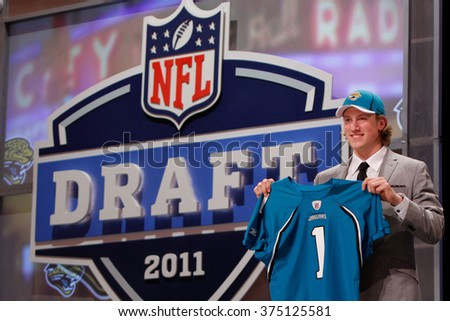 Blaine Gabbert is introduced as the tenth pick to the Jacksonville Jaguars at the NFL Draft 2011 at Radio City Music Hall in New York, NY. - stock photo