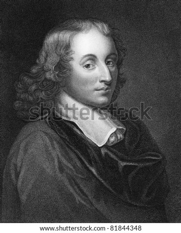 Blaise Pascal (1623-1662). Engraved by H.Meyer and published in The Gallery Of Portraits With Memoirs encyclopedia, United Kingdom, 1833. - stock photo