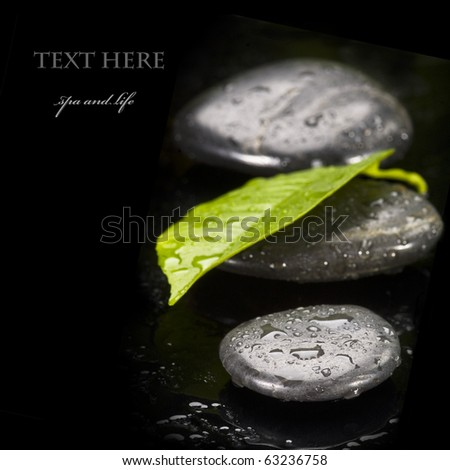 blak spa stones with leaf and water drops - stock photo