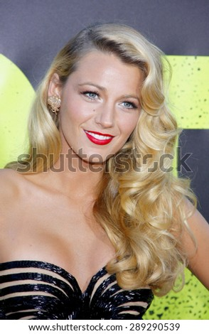 """Blake Lively at the Los Angeles premiere of 'Savages"""" held at the Mann Village Theatre in Westwood on June 25, 2012.  - stock photo"""