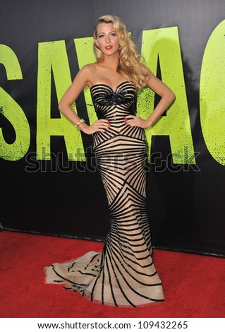"""Blake Lively at the world premiere of her movie """"Savages"""" at Man Village Theatre, Westwood. June 26, 2012  Los Angeles, CA Picture: Paul Smith / Featureflash - stock photo"""