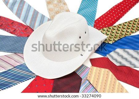 Blanching hat on intertheirs tie on white background