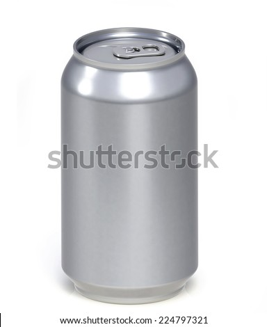 blanck aluminum can isolated on white. 3D