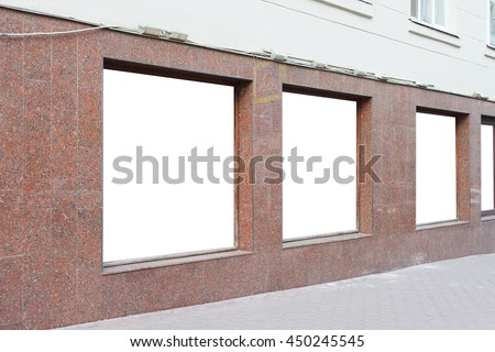 Blanck shop windows mockup. Isolated with clipping path - stock photo