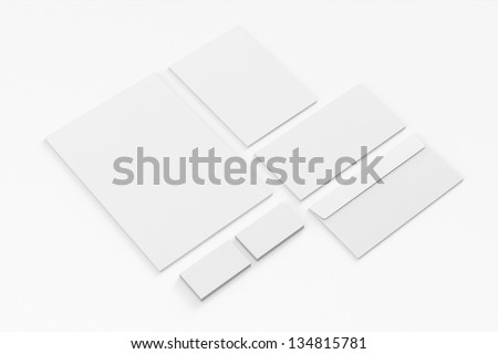 Blank A4 paper, Business cards, Letterhead, Envelopes / Stationary, Corporate identity isolated on white background with soft shadows - stock photo