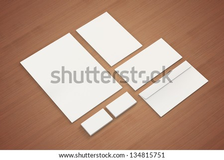 Blank A4 paper, Letterhead,  Business cards, Note,  Envelopes / Stationary, Corporate identity template on wooden background - stock photo